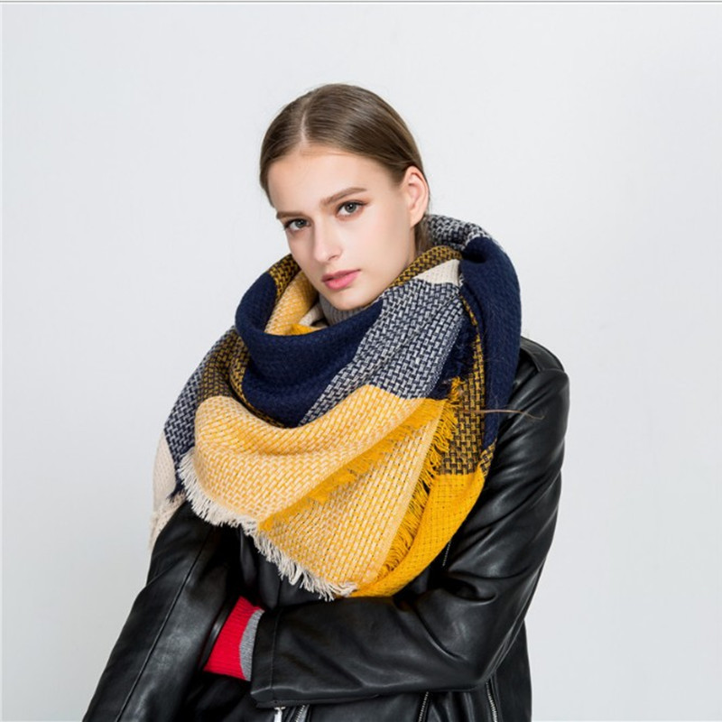Fashion Luxury Märke Vinterduk Kvinnor Kvadrat Stitching Plaid Cashmere Warp Stickning Tjock Sjalar och Wrap Blanket Dropshipping