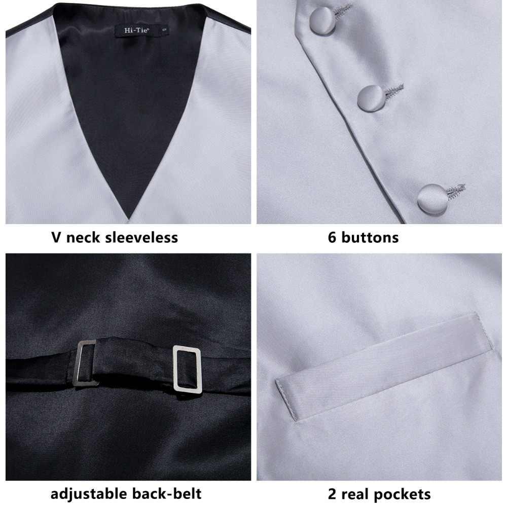 MJ-0001 ハイネクタイ男性ベスト絹のチョッキベスト高品質ハンカチカフスネクタイベストセットシルバーグレー固体ベストのためのメンズ