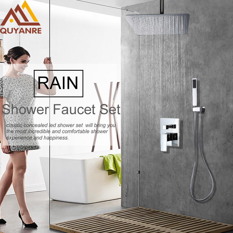 Quyanre Concealed Rainfall Shower Head System Chrome Bath Shower Faucet Bathroom Luxury Rain Mixer Tap Shower