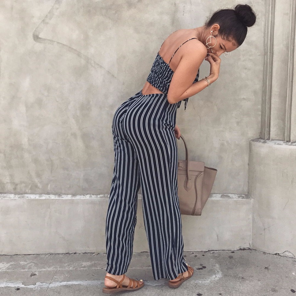 4238d1c0dbf5 Elegant Striped Sexy Spaghetti Strap Rompers Womens Jumpsuit Sleeveless  BacklessBow Casual Wide legs Jumpsuits Leotard Overalls -in Jumpsuits from  Women s ...