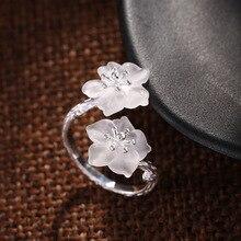 Кольца из стерлингового серебра S925 пробы, инкрустированные белыми кристаллами цветы, простая форма, художественное кольцо
