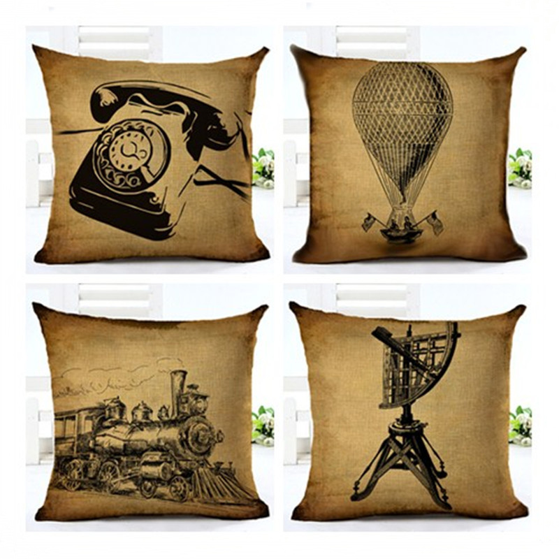 European Style Cushion Cover Retro Telephone Locomotive Pattern Pillowcase Pillow Cover Sofa Home Decor F