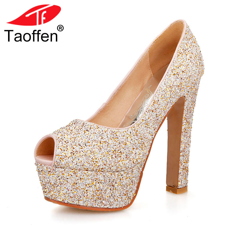 TAOFFEN women open peep toe high heel shoes platform sexy brand quality footwear heeled pumps heels shoes size 31-43 P18929