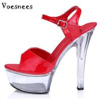 2015 Summer Women Slippers Sexy 15cm High With Fine Open Toe Transparent Waterproof Sandals Princess Shoes