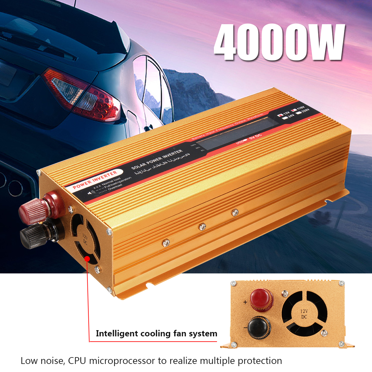 12/24V To AC 220/110V PEAK 4000W USB Modified Sine Wave Converter Car Power Inverter Voltage Transformer for Various Appliances 12 24v to ac 220 110v car power inverter converter peak 10000w usb modified sine wave voltage transformer universal intelligent