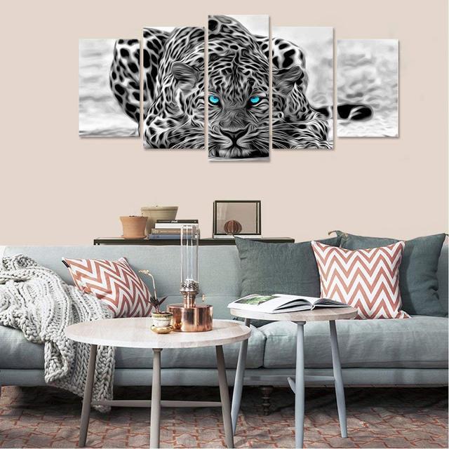 קיר אמנות הדפסי תמונות מסגרת 5 pieces כחול עיני נמר נמר בד ציורי בית תפאורה שחור ולבן בעלי החיים פוסטר
