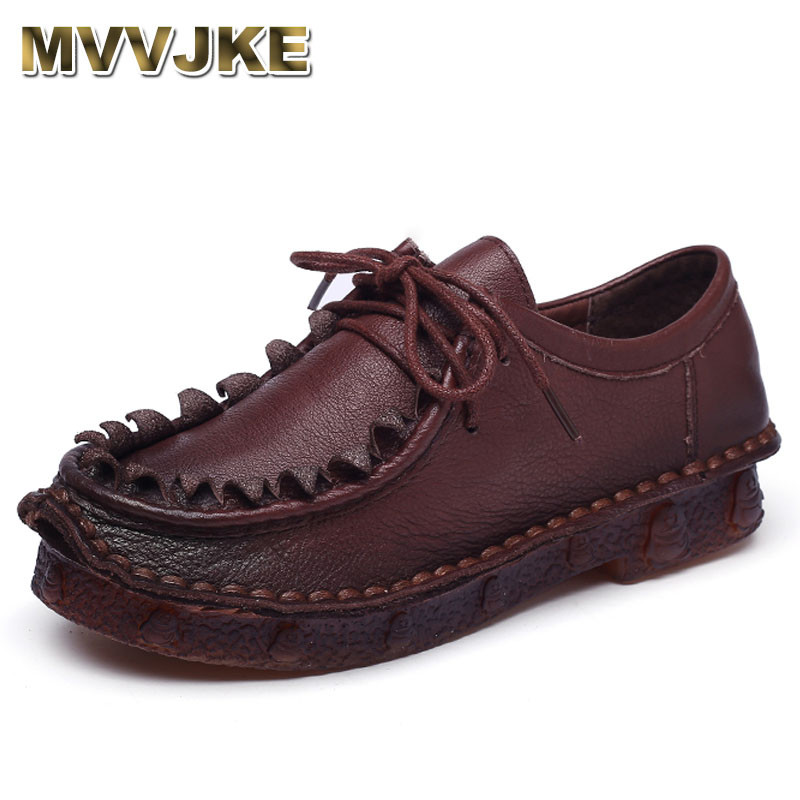 MVVJKE Women Shoes Genuine Leather Flat Shoes Woman Loafers Handmade Soft Comfortable Casual Shoes Women Flats Plus Size cresfimix zapatos women cute flat shoes lady spring and summer pu leather flats female casual soft comfortable slip on shoes