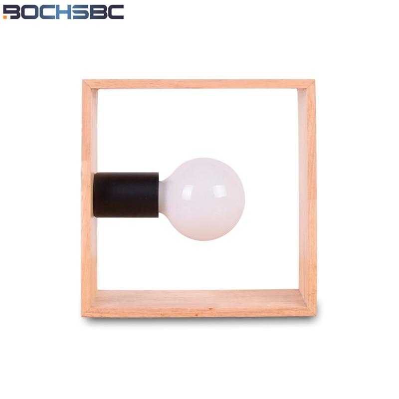 BOCHSBC Square Wooden Table Lamp Light Bedroom Bedside Light Nordic Decoration Desk LED Lamps Modern Lampara for Living Room