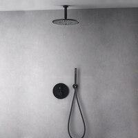 Brass Black Shower Faucets 30cm Rainfall Shower Head Bathroom Shower Set Diverter 2 Ways Thermostatic Valve Shower System Round