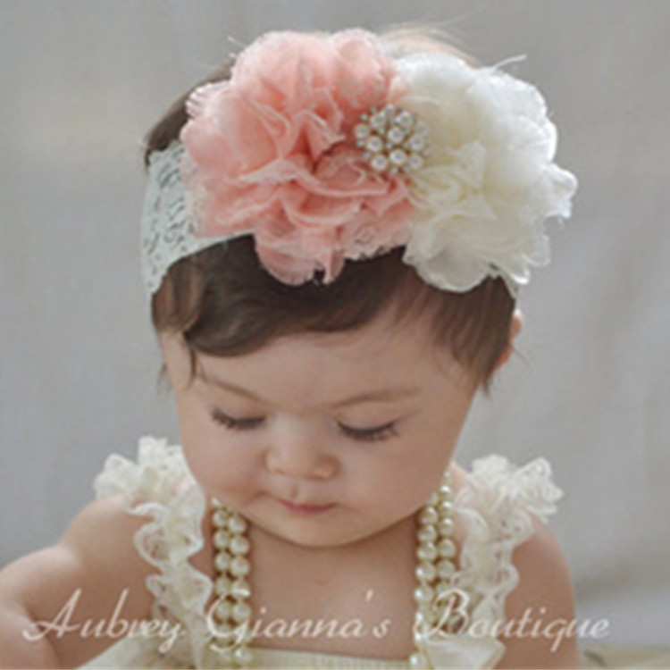 New NWT Soft  Infant Baby Girl/'s Headbands Chiffon Hair w//Pearls Ivory Yellow