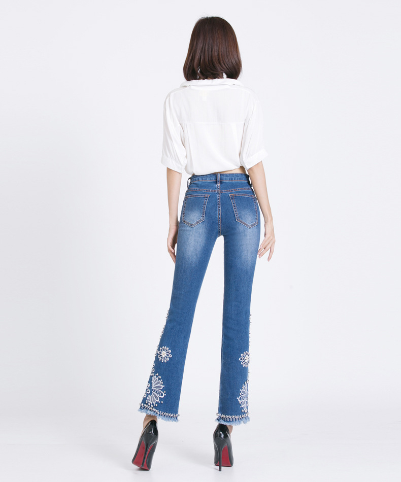 KSTUN women embroidered beaded jeans high quality luxury stretch sexy ladies denim pants bell bottoms flared elegant jeans mujer 14