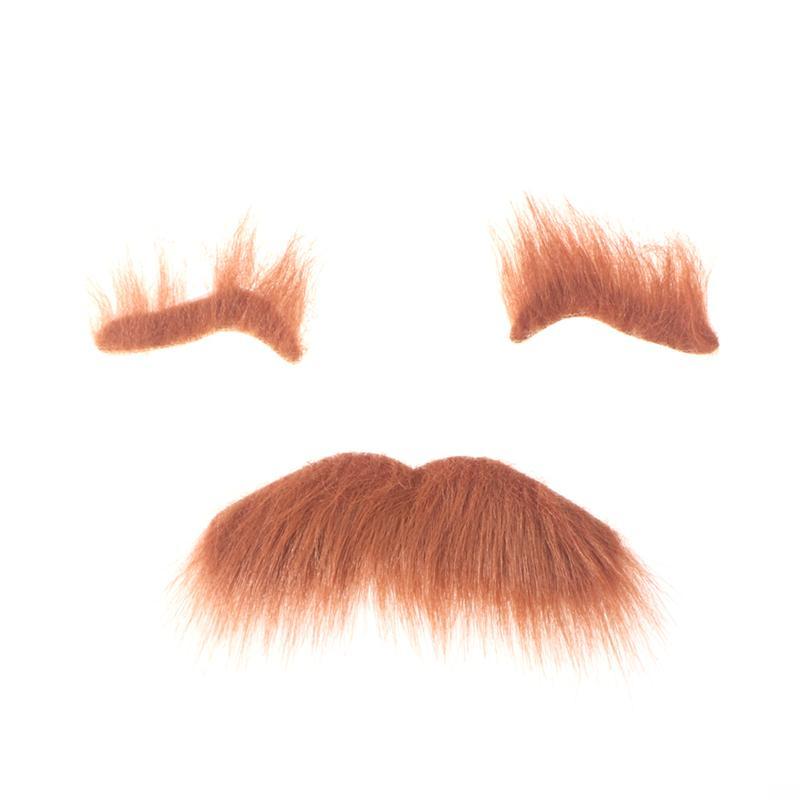 Three-Piece Novelty Halloween Costumes Self Adhesive Fake Eyebrows Beard Moustache Kit Facial Hair Cosplay Props