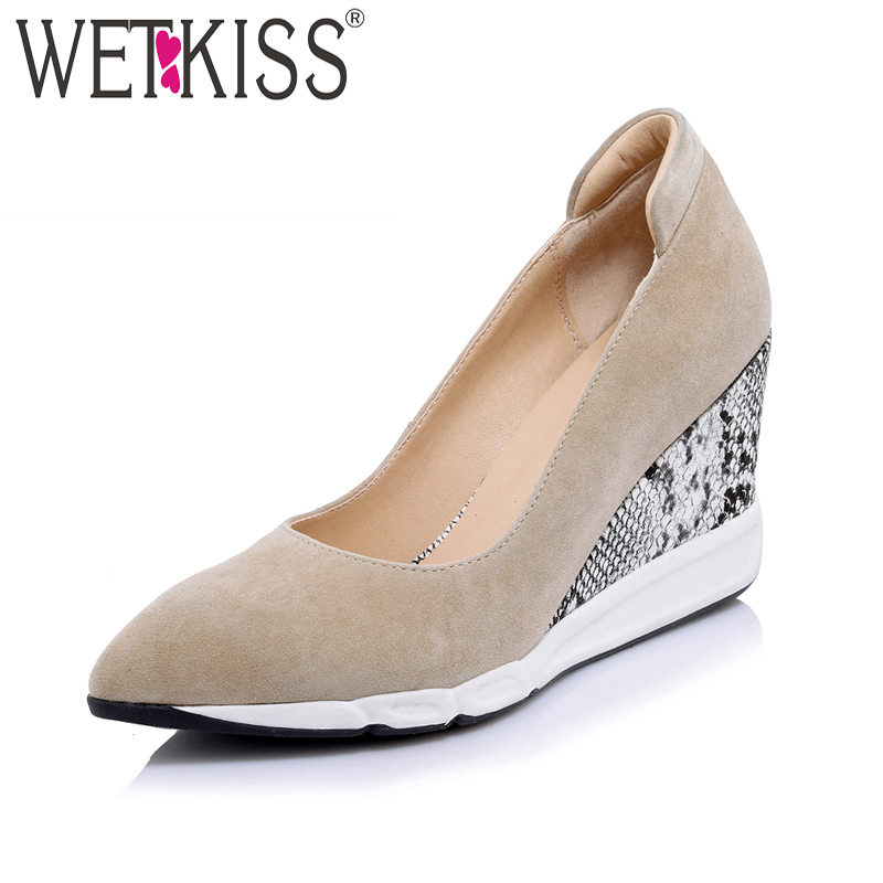 WETKISS Wedges Kid Suede Women Pumps Pointed Toe Shallow Slip On Footwear New Arrival 2018 Spring Fashion Casual Ladies Shoes 017 new women sandals pointed toe slip on casual summer mixed colors shallow back strap women casual shoes black brown 4 10