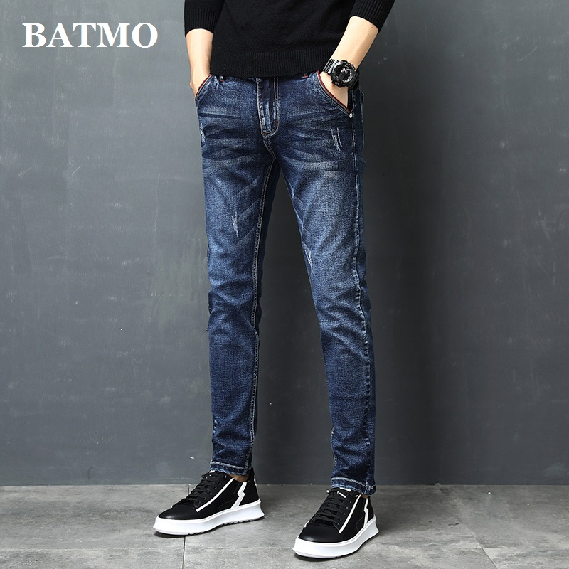 Batmo 2019 new arrival high quality slim casual Scratched jeans men,blue causal elastic jeans,Pencil Pants size 27 to 36 Z002