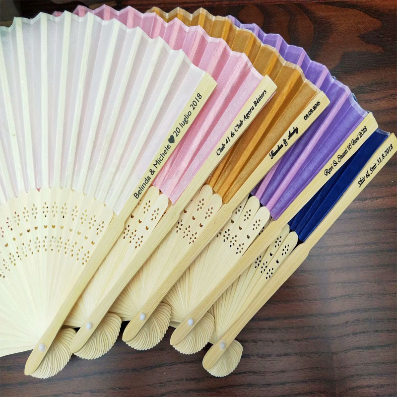 80pcs lot Personalized Luxurious Silk Fold hand Fan in Elegant Laser Cut Gift Box Party Favors