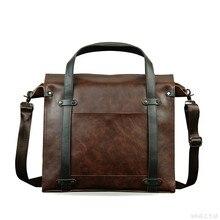 2016 Luxury Designer Brand Genuine leather Men Briefcase Handbag Men's Vintage Crossbody Messenger Bags Business Shoulder Bag