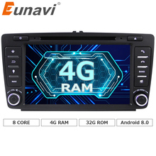 Eunavi Octa 8 core 2 din Android 8.0 4G+32G Car DVD Player For Skoda Octavia 2014 2015 A7 GPS Navigation Radio Multimedia DAB+