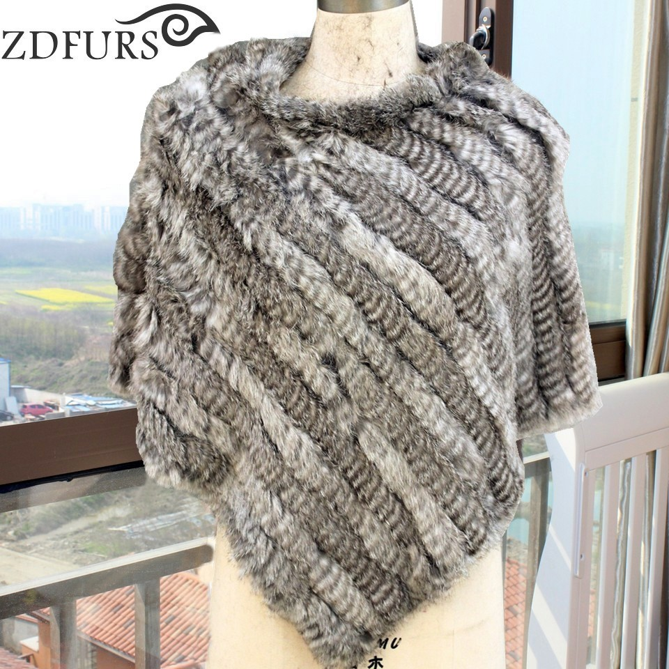 Zdfurs 2017 fashion fur poncho knitted rabbit fur small for Small cape