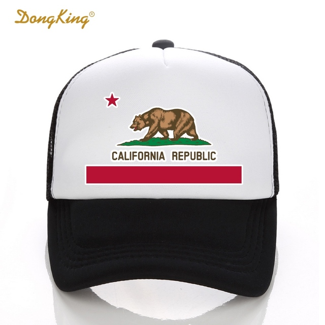 7aa2042b402 DongKing Fashion Trucker Hat California Flag Snapback Mesh Cap Retro  California Love Vintage California Republic Bear