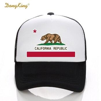 DongKing moda camionero sombrero California bandera Snapback malla gorra  Retro California amor Vintage California República oso Top fef13bb3b4a