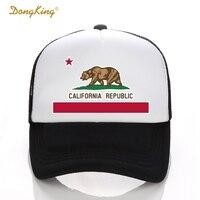 DongKing Fashion Trucker Hat California Flag Snapback Mesh Cap Retro California Love Vintage California Republic Bear