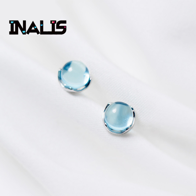 INALIS Wholesale Fashion S925 Sterling Silver Stud Earrings Round Light Blue Cry
