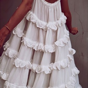 Image 5 - CHICEVER Elegant Patchwork Ruffles White Dress For Women Off Shoulder Sleeveless Oversized  Dresses Female Fashion Clothes 2020