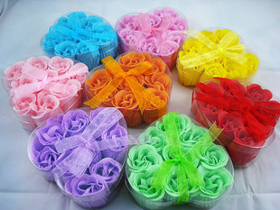 9 heart-shaped petals system color 3-layer wedding gifts Valentine Rose Soap Flower Soap Flower (Variety of colors)