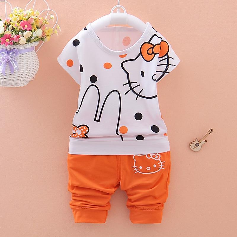 2018 New Sale For Bebek Baby Girls Clothing Set Children Short-sleeve +pants 2pec/set Kids Tips Printing Clothes Suit Bodysuit