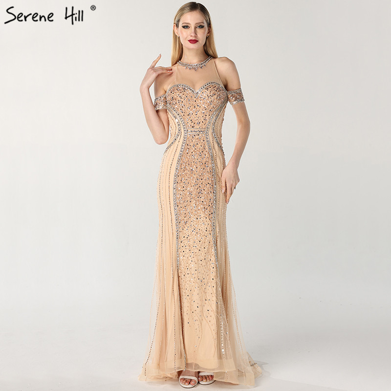 Luxury Sexy Gold Diamond Mermaid Evening Dresses Sleeveless Sparkly Mermaid Evening Gown  2019  Real Photo LA60797(China)