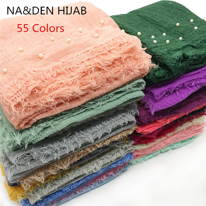 NEW 55 Colors Solid Pearls Spring Summer print hijab Hot sale plain solid color scarf scarves