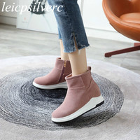 Women Boots Autumn Winter Med Heel Warm Plush Flock Ankle Zip Wedges Platform Snow Shoes 2018 New Fashion Black Brown Green Pink