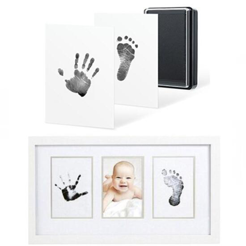Pls Buy It!Free Shipping Baby Non-Toxic Handprint Kit Imprint Footprint Baby Souvenirs Newborn Black Ink Footprint DIY