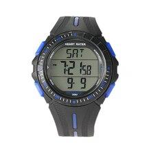 Многофункциональный спортивные двойной время импульса сердечного ритма Мониторы часы W/нагрудный Цвет: черный + синий