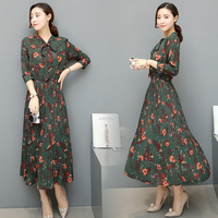 Women summer Chiffon dress 2018 New Fashion Printed pleated Dress Women Casual Elegant plus size Floral Long Dresses vestidos