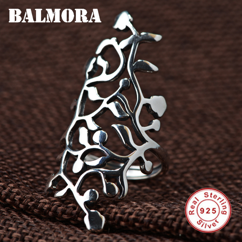 BALMORA Solid 925 Sterling Silver Hollow Leaf Rings for Women Gift Ethnic Thai Silver Ring Fashion Cool Jewelry Anillos SY21895 delicate solid color hollow out leaf cuff ring for women