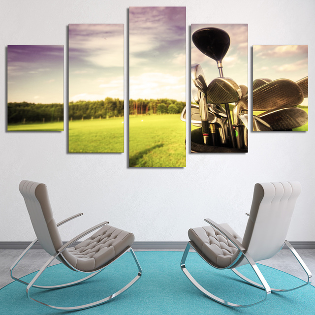 5 Panel Framed HD Printed Professional Golf Course Modern Home Wall ...