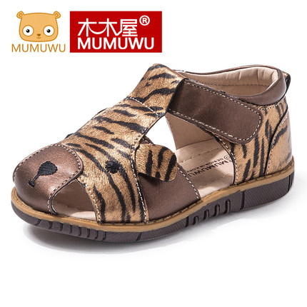WENDYWU Wooden house baby sandals summer new male children's shoes shoes baby pedal shoes soft base leopard cute Leather shoes