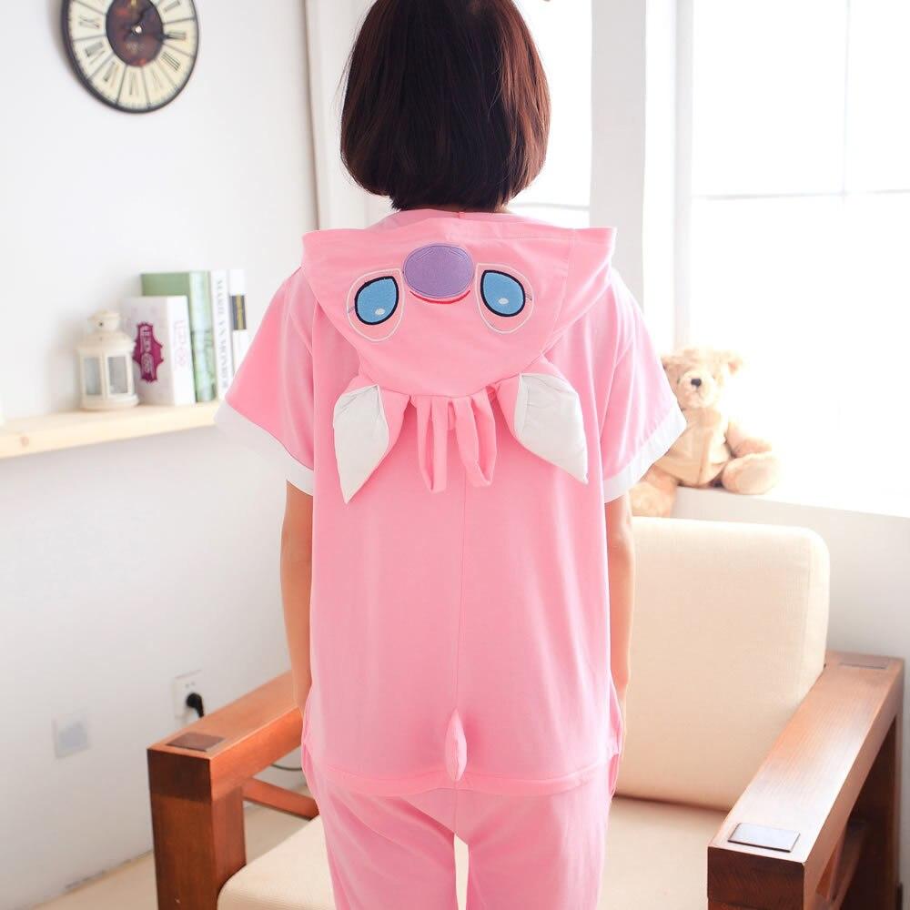 Cotton Animal Family Matching Pajamas Outfits Summer Hooded Stitch Blue Pink Pyjamas Onesie Mother Kids Sleepwear
