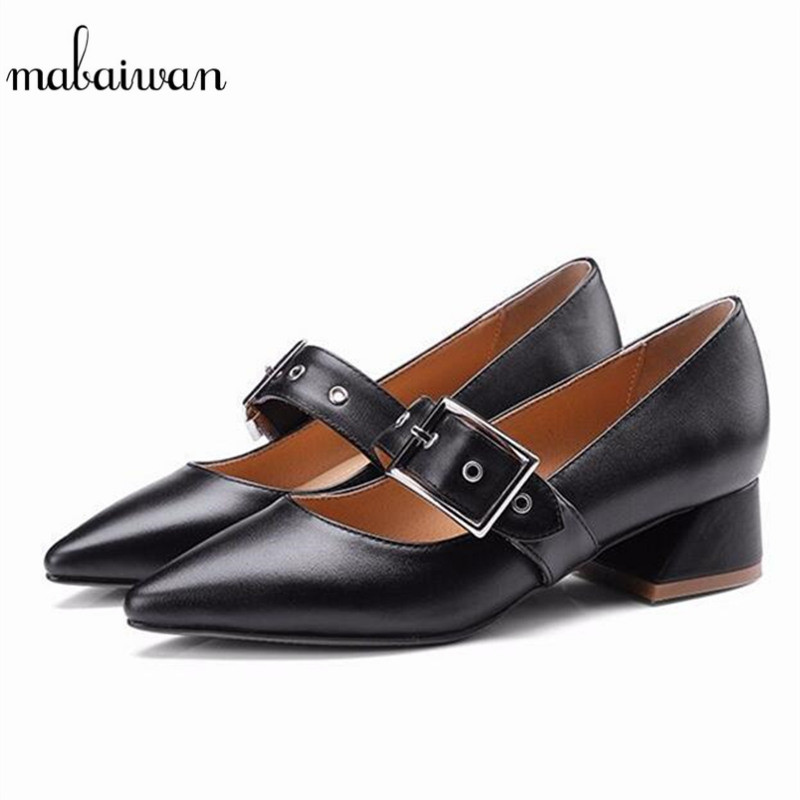 Mabaiwan Fashion Black Casual Women Shoes Sexy Ladies Pointed Toe Thick High Heels Buckle Wedding Dress Shoes Woman Pumps Boots