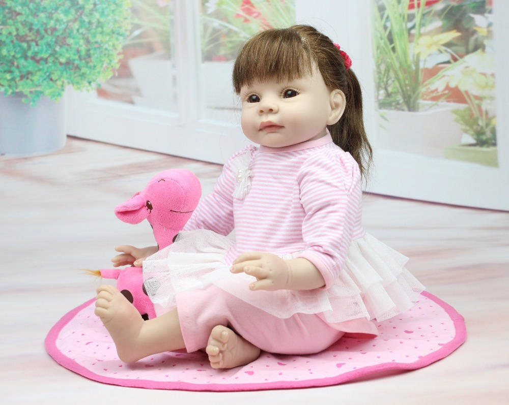 NPKCOLLECTION Nicery 22inch 55cm Bebe Reborn Doll Soft Silicone Boy Girl Toy Reborn Baby Doll Gift for Children Pink Dress Girl nicery 18inch 45cm reborn baby doll magnetic mouth soft silicone lifelike girl toy gift for children christmas pink hat close