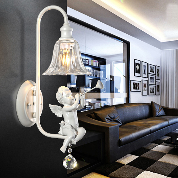 European children's room wall light creative bedroom bedside American village corridor wall lamp wall lamp lighting angel modern lamp trophy wall lamp wall lamp bed lighting bedside wall lamp