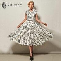 Vintacy Women Dress Pin Up Dresses A Line Ball Gown Slim Polka Dots Vestido 1950S Vintage