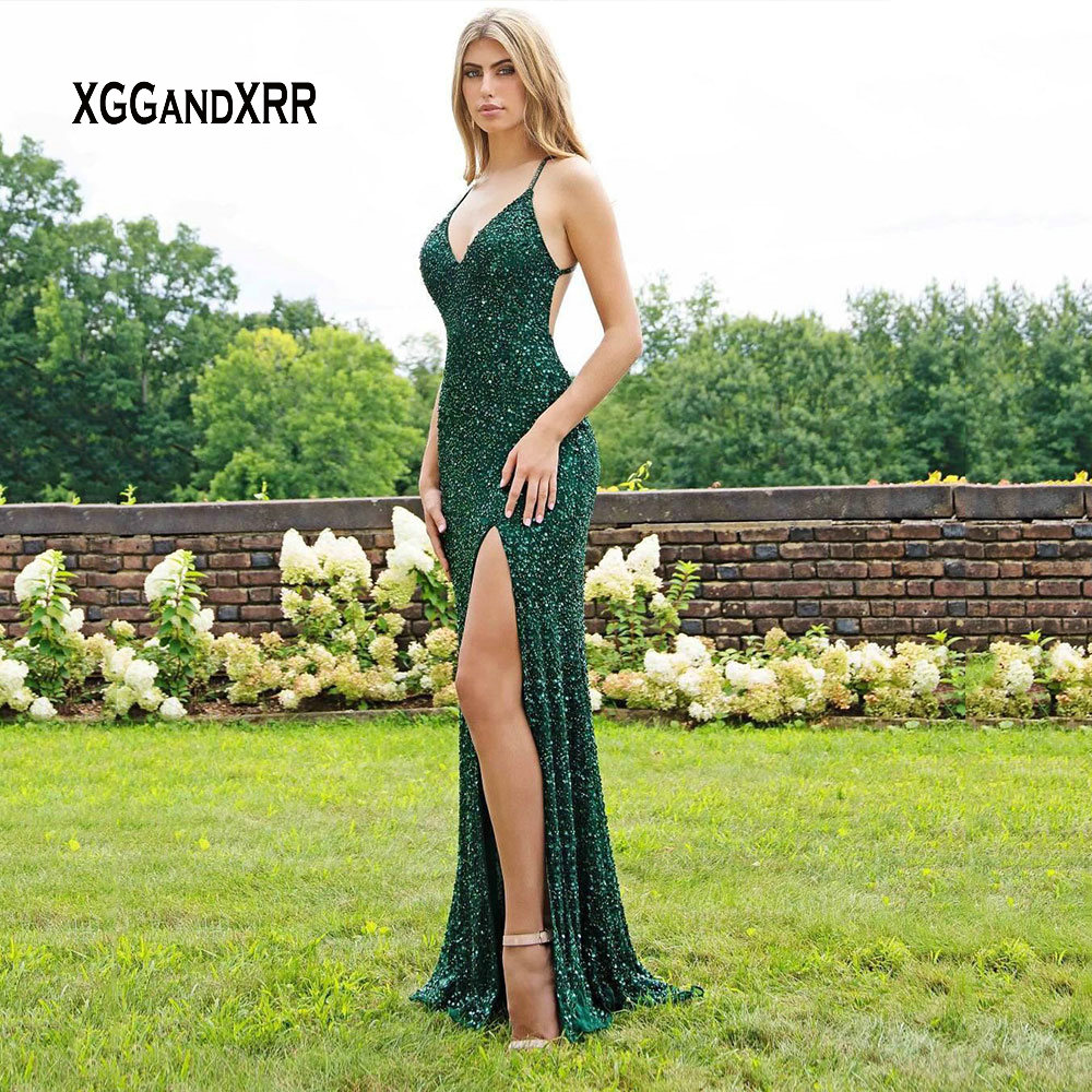 Luxury Green Mermaid Prom Dress 2019 V Neck Spaghetti Beading Sequins Backless Long Formal Party Gown Gala Jurken