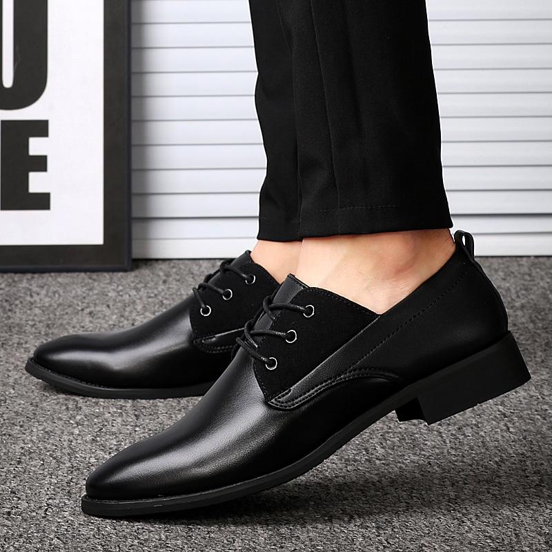 De 38 Black Chaude D'affaires Causalité Mode En Cuir Robe brown Appartements Hommes Pointu Taille Respirant Chaussures 43 Up Lace Bout x6wRvgaqU7