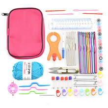 Crochet Hooks Set Colorful Aluminium Knitting Needles Yarn Weave Sweater Clothes Scarf DIY Tools with Bag