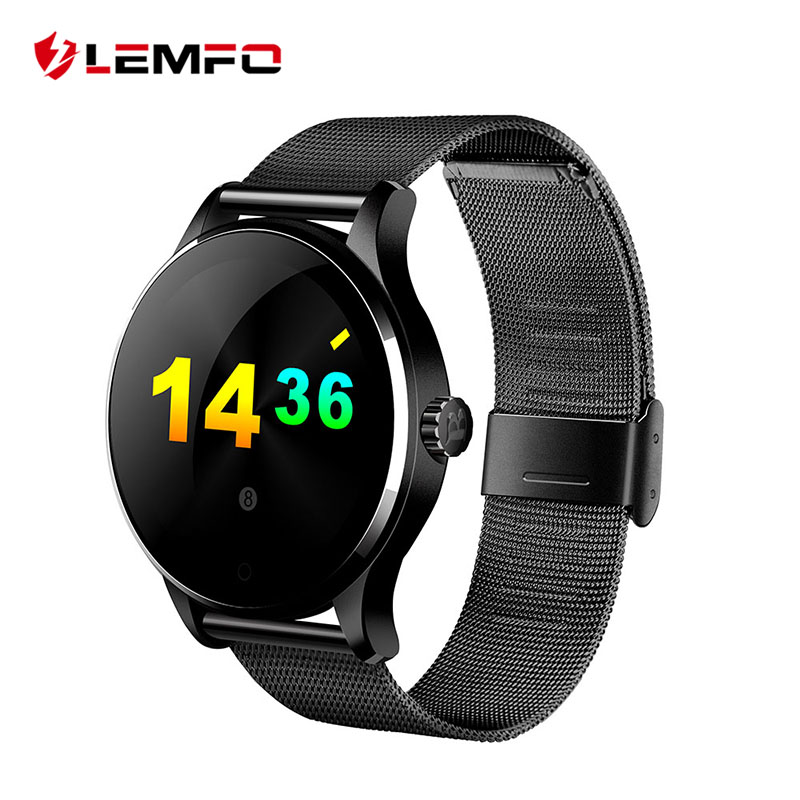 K88H Round Bluetooth Smart font b Watch b font Classic Health Metal Smartwatch with Heart Rate