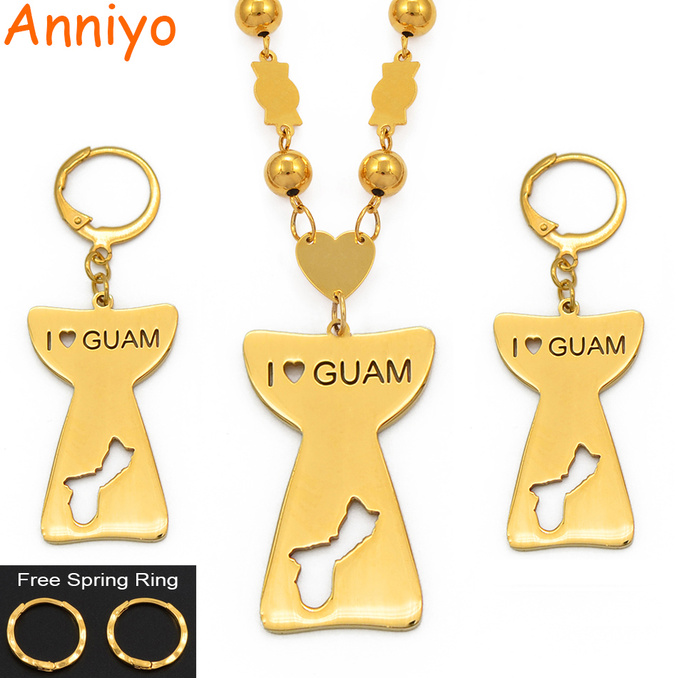 Anniyo I Love Guam & Map Pendant Ball Beads Chain Necklace Earrings for Women Girls Gold Color Guam Jewelry Ethnic Sets #100021Anniyo I Love Guam & Map Pendant Ball Beads Chain Necklace Earrings for Women Girls Gold Color Guam Jewelry Ethnic Sets #100021