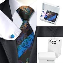 B-268 Mens Ties Black Blue Paisley Silk Jacquard Necktie Hanky Cufflink Gift Box Bag Sets Ties For Men Business Wedding Party