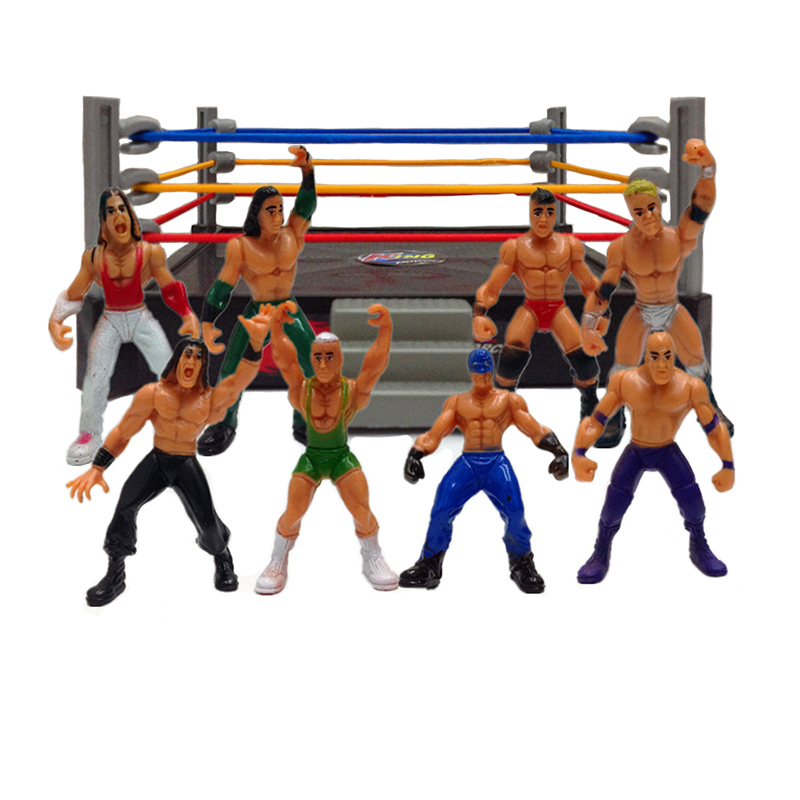 8Pcs/12Pcs Wrestler Athlete Wrestling Figure Gladiator Model Set Arena Battle Game Toy DIY Assembling Toys Classic Hobbies